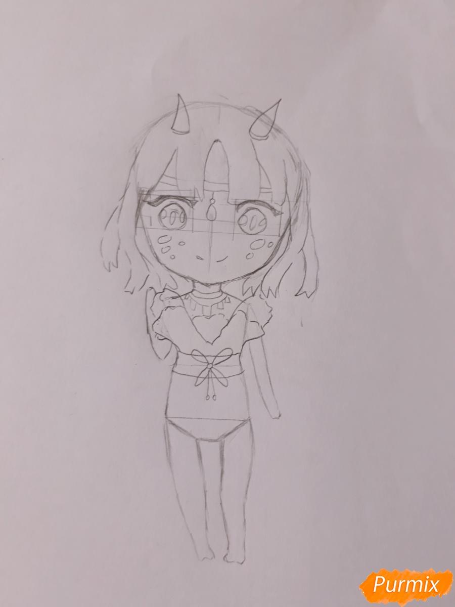 Рисуем чиби девушку-дракона цветными карандашами - шаг 5