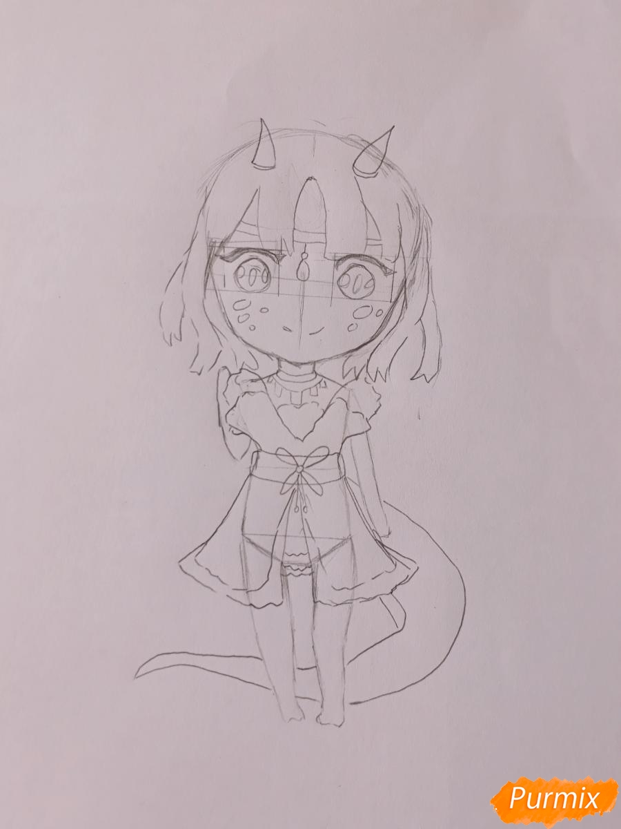 Рисуем чиби девушку-дракона цветными карандашами - шаг 6
