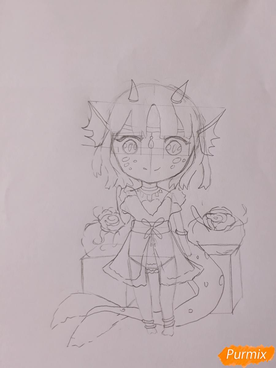Рисуем чиби девушку-дракона цветными карандашами - шаг 7