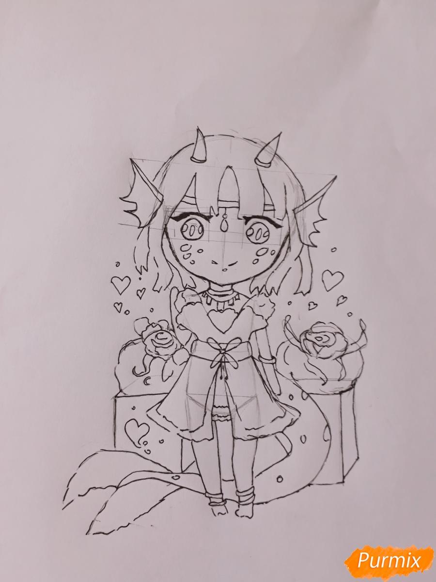 Рисуем чиби девушку-дракона цветными карандашами - шаг 8