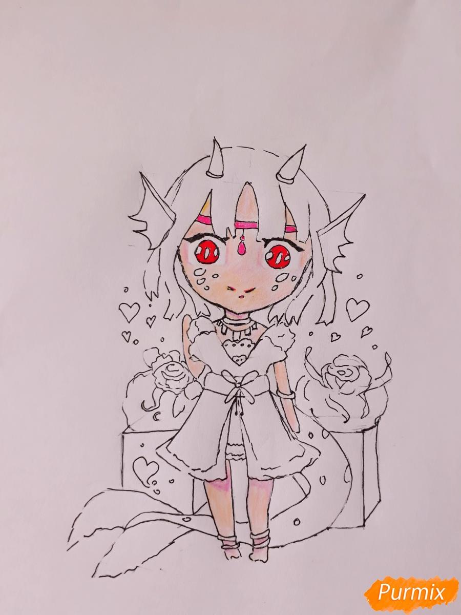 Рисуем чиби девушку-дракона цветными карандашами - шаг 9