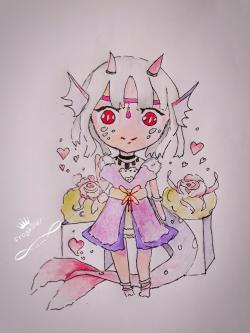 Фото чиби девушку-дракона цветными карандашами