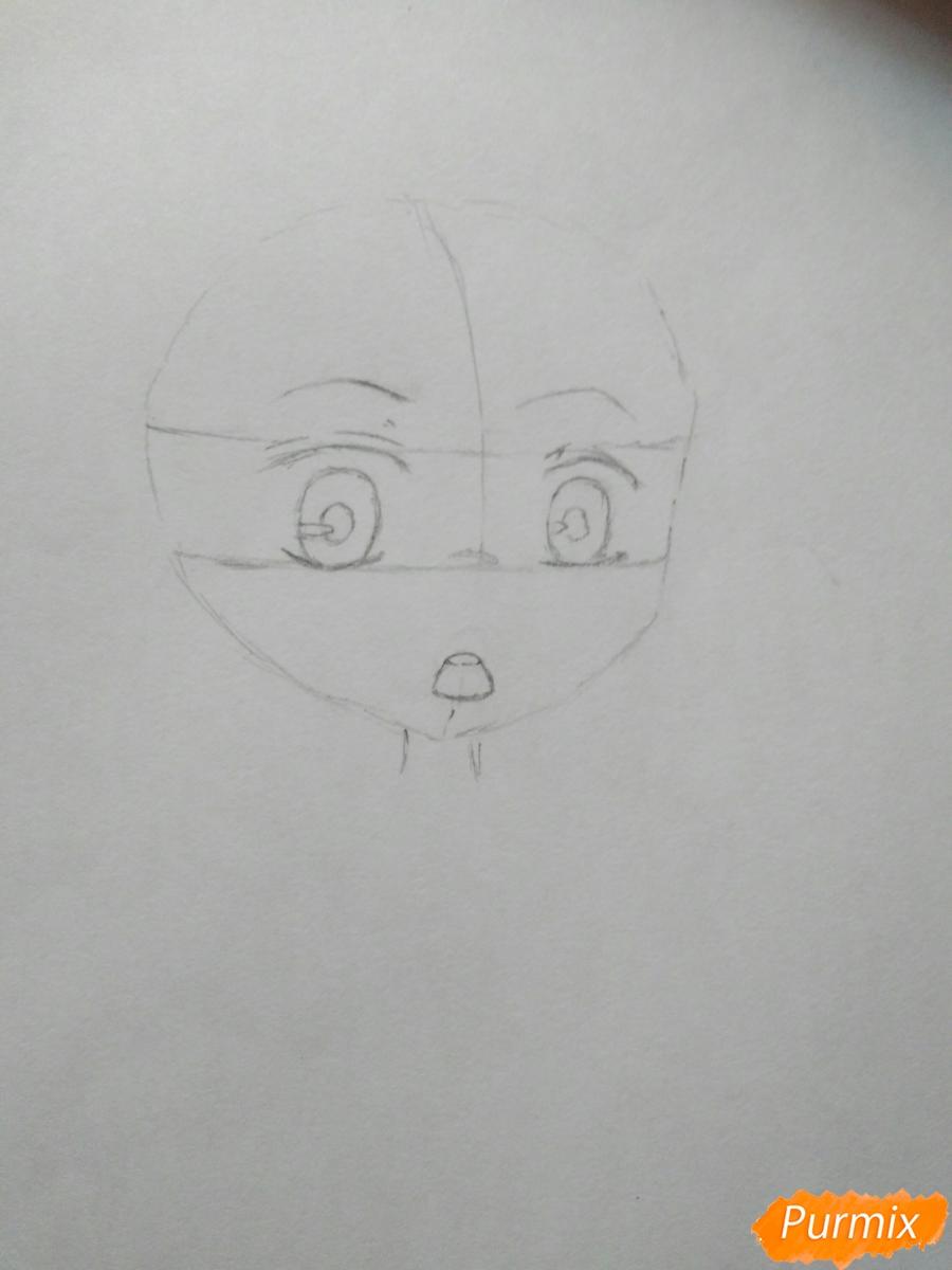 Рисуем чиби Джузо из аниме Токийский гуль - шаг 2