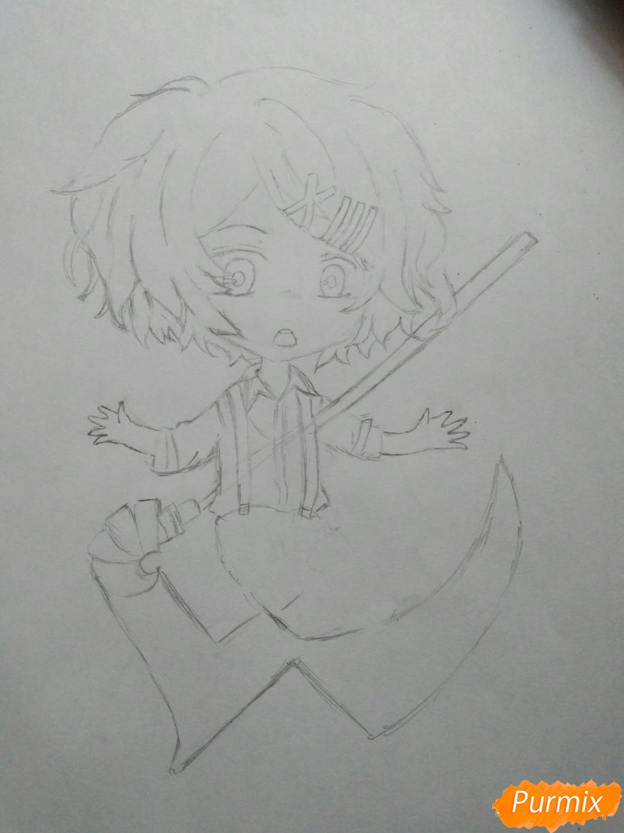 Рисуем чиби Джузо из аниме Токийский гуль - шаг 5
