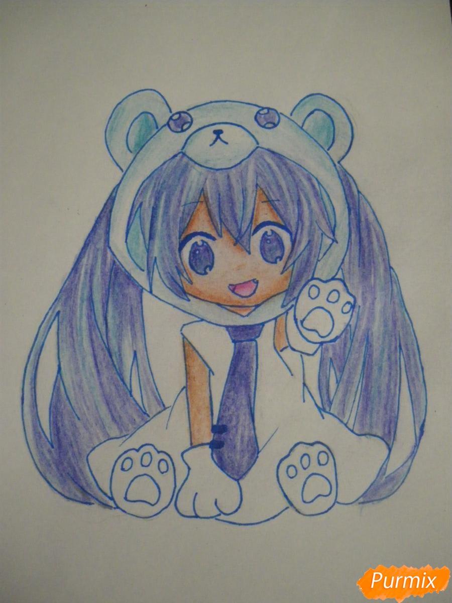 Рисуем чиби Хатсуне Мику в костюме северного мишки - шаг 13