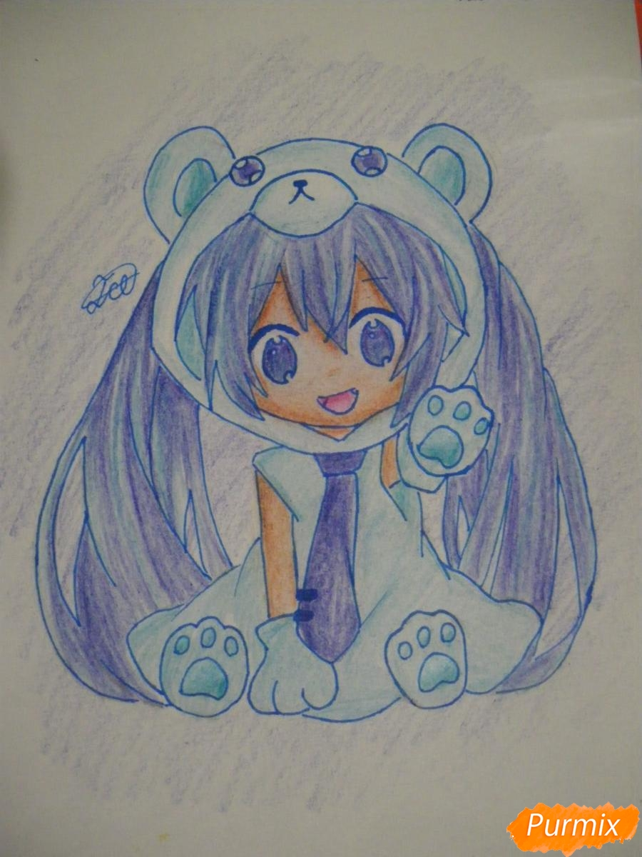 Рисуем чиби Хатсуне Мику в костюме северного мишки - шаг 14