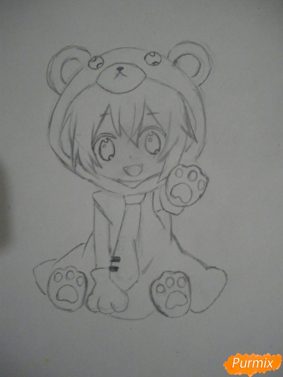 Рисуем чиби Хатсуне Мику в костюме северного мишки - шаг 6