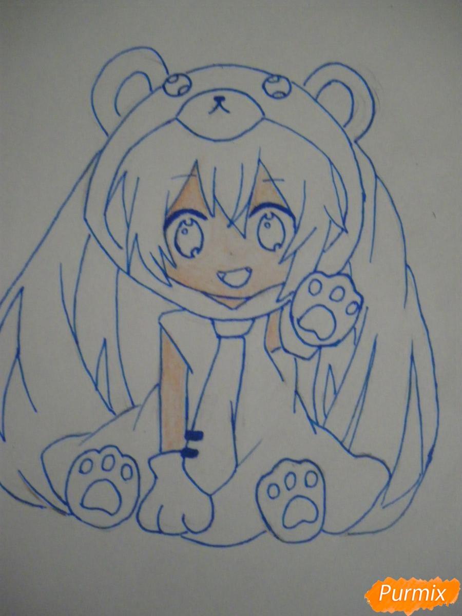 Рисуем чиби Хатсуне Мику в костюме северного мишки - шаг 8