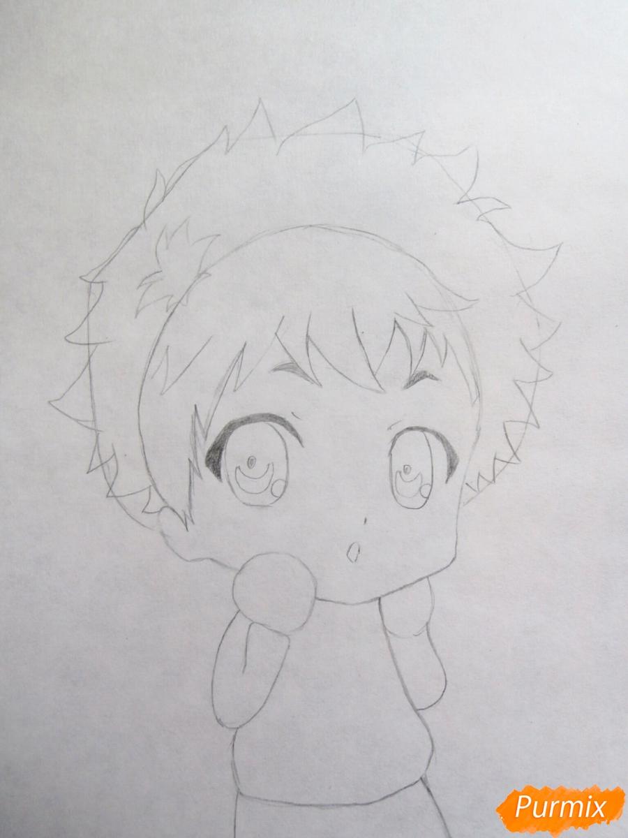 Рисуем чиби Хиде из аниме Токийский гуль - шаг 3