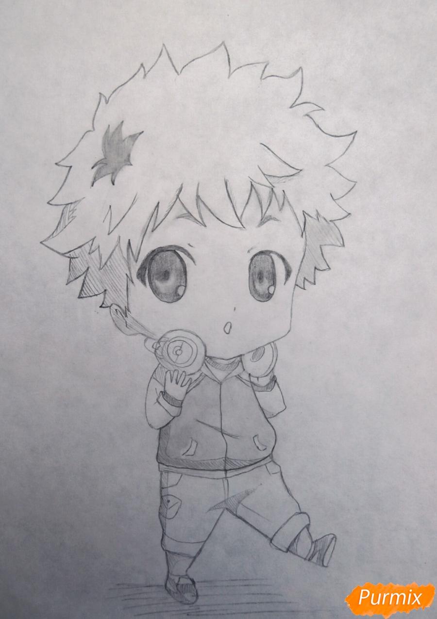Как нарисовать чиби Хиде из аниме Токийский гуль карандашом поэтапно