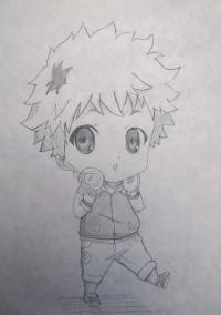 Рисунок чиби Хиде из Токийский гуль