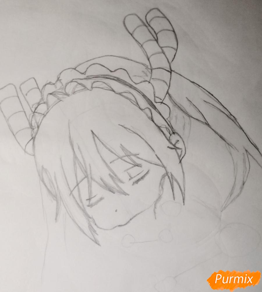 Рисуем чиби Кобаяси из аниме Дракон-горничная Кобаяcи-сан - шаг 3