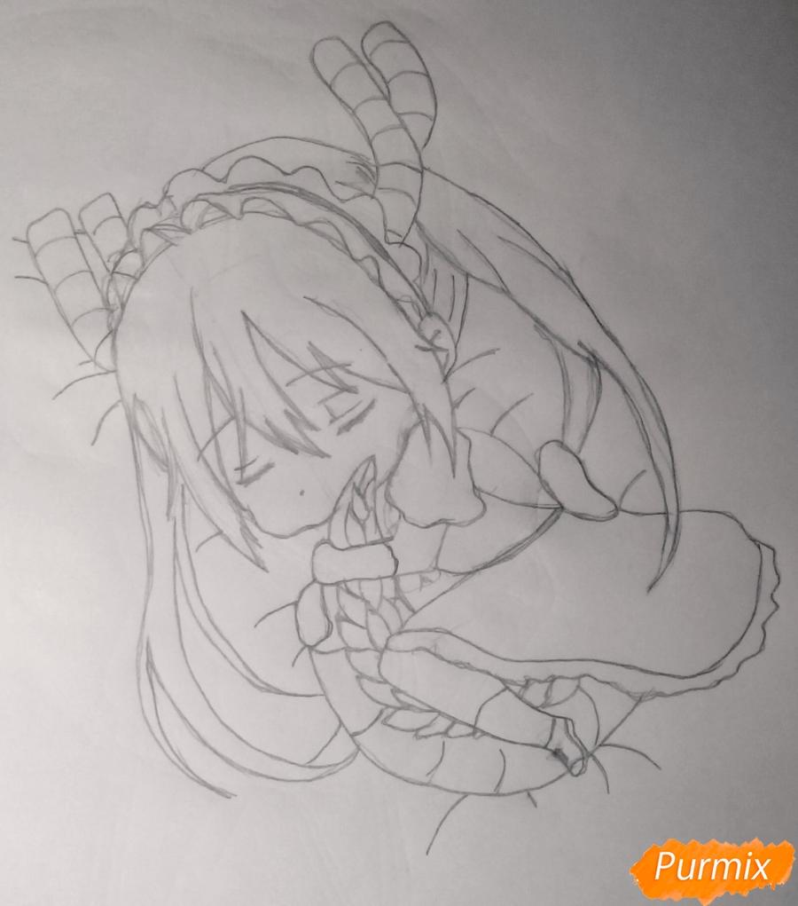 Рисуем чиби Кобаяси из аниме Дракон-горничная Кобаяcи-сан - шаг 5