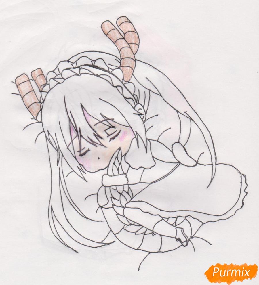 Рисуем чиби Кобаяси из аниме Дракон-горничная Кобаяcи-сан - шаг 7