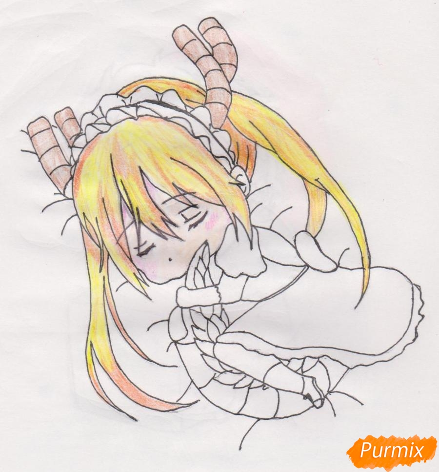 Рисуем чиби Кобаяси из аниме Дракон-горничная Кобаяcи-сан - шаг 8