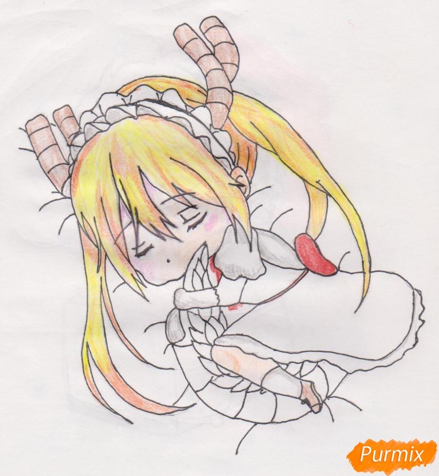 Рисуем чиби Кобаяси из аниме Дракон-горничная Кобаяcи-сан - шаг 9