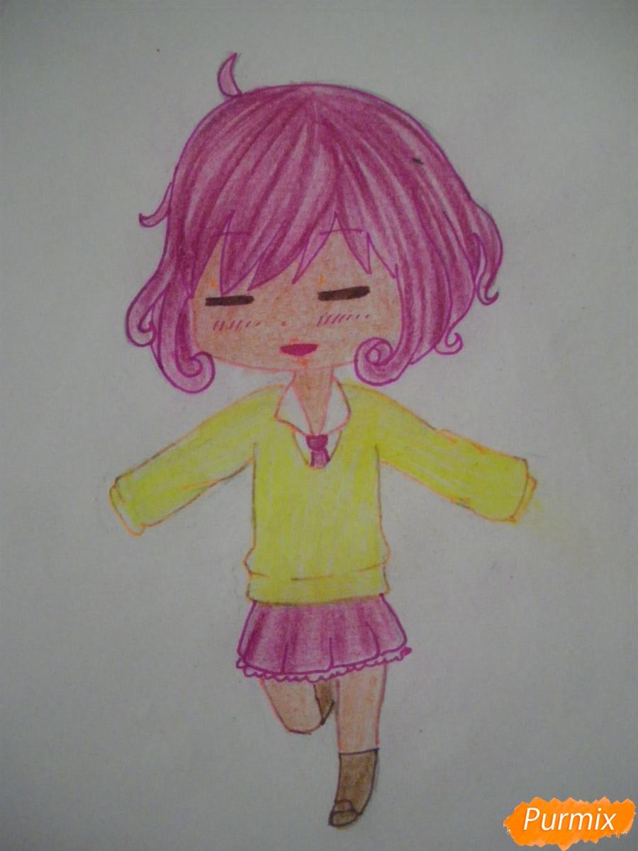Рисуем чиби Кофуку из аниме бездомный бог карандашами - шаг 10