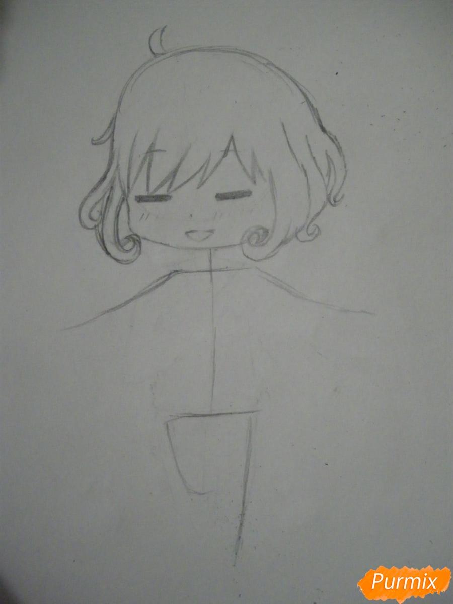Рисуем чиби Кофуку из аниме бездомный бог карандашами - шаг 4