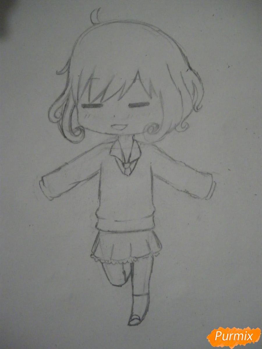 Рисуем чиби Кофуку из аниме бездомный бог карандашами - шаг 6