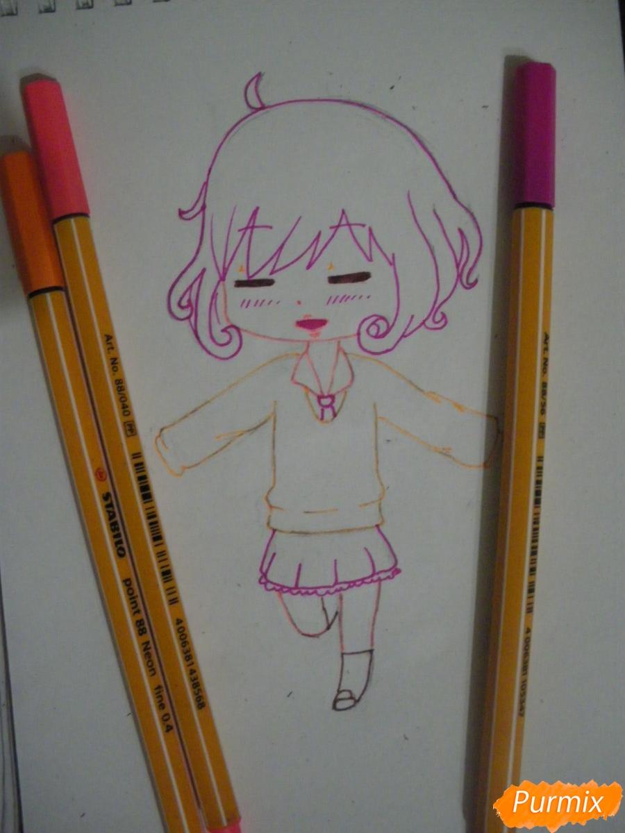 Рисуем чиби Кофуку из аниме бездомный бог карандашами - шаг 7