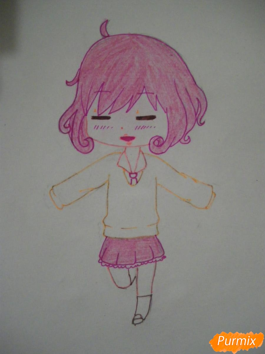 Рисуем чиби Кофуку из аниме бездомный бог карандашами - фото 8