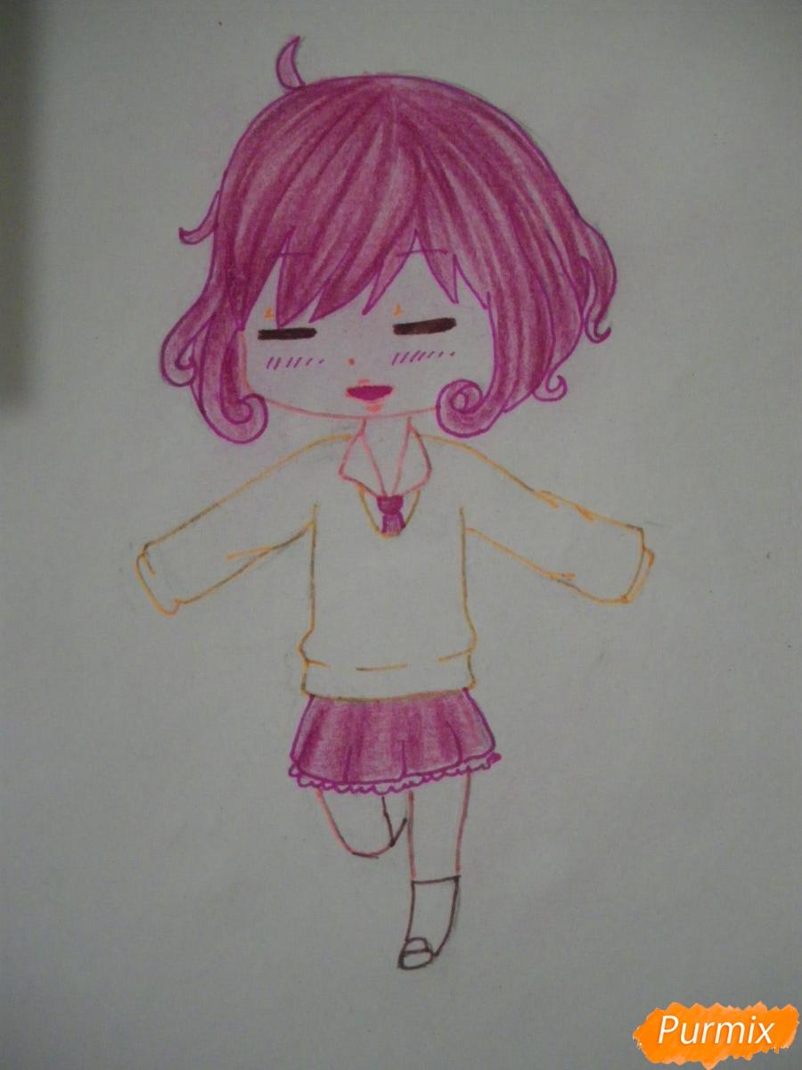 Рисуем чиби Кофуку из аниме бездомный бог карандашами - шаг 9