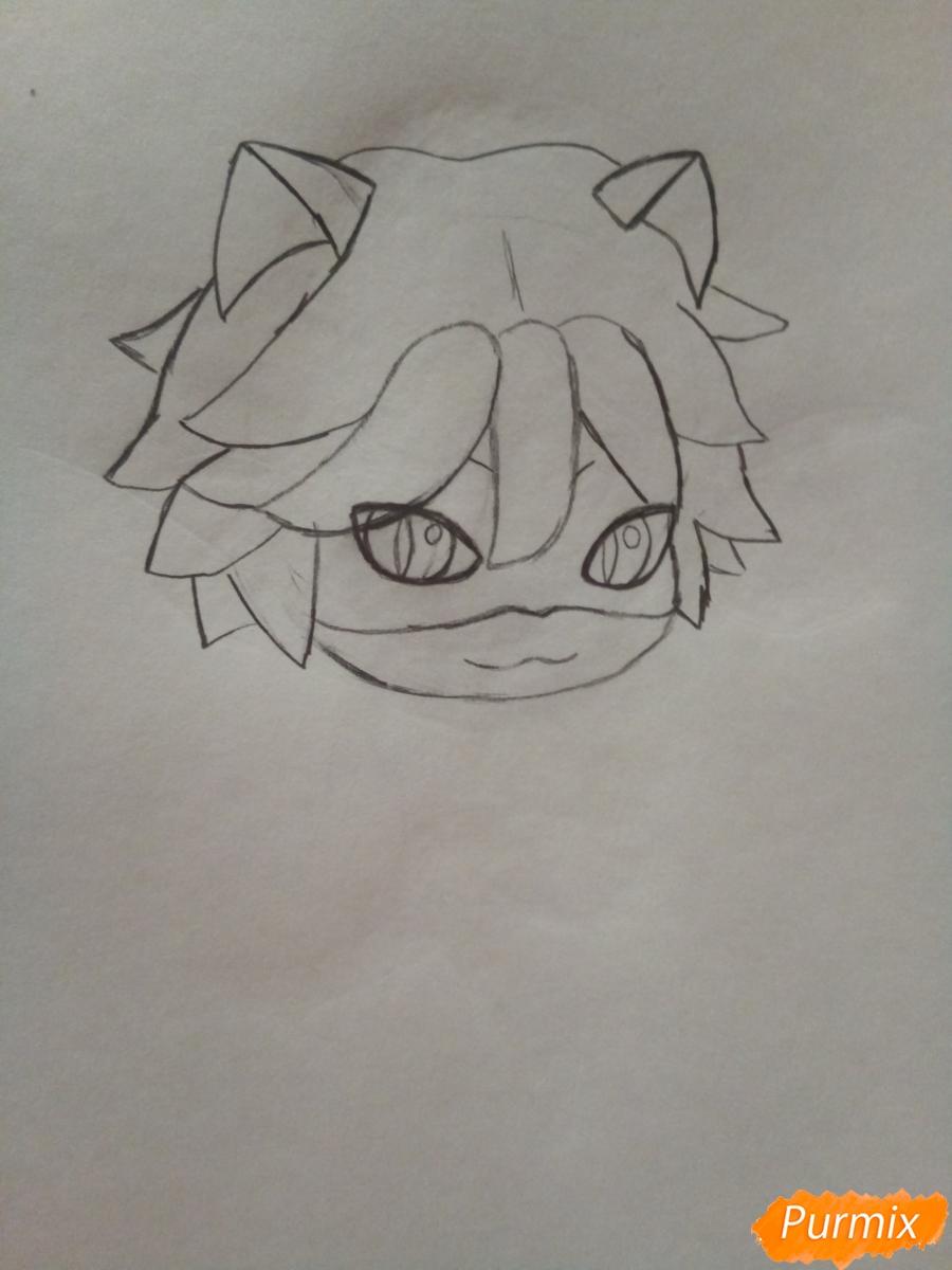 Рисуем чиби кота Нуара карандашами - шаг 3