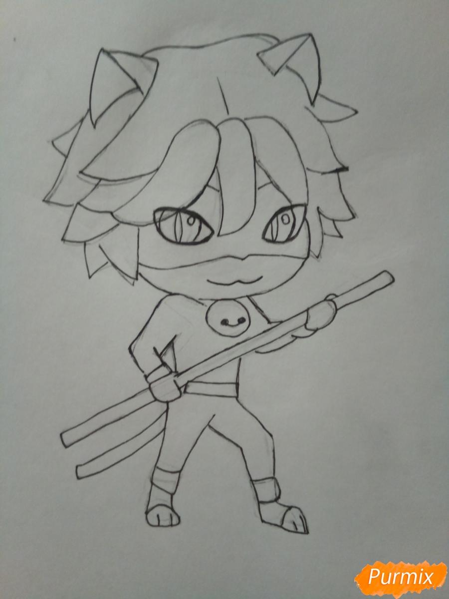 Рисуем чиби кота Нуара карандашами - фото 6