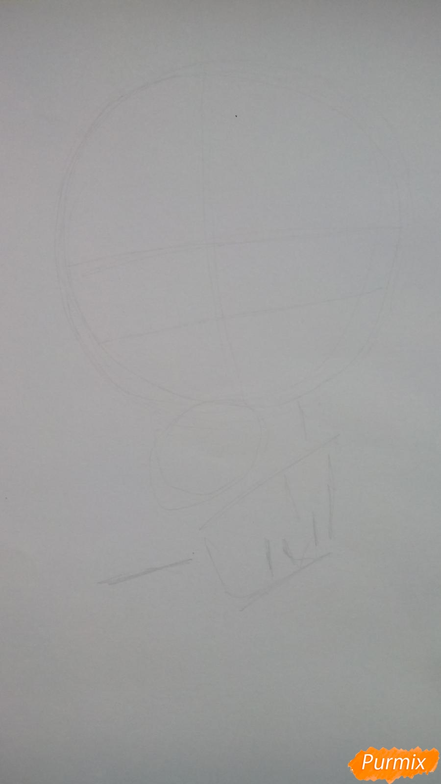 Рисуем чиби Куроко карандашами - шаг 1
