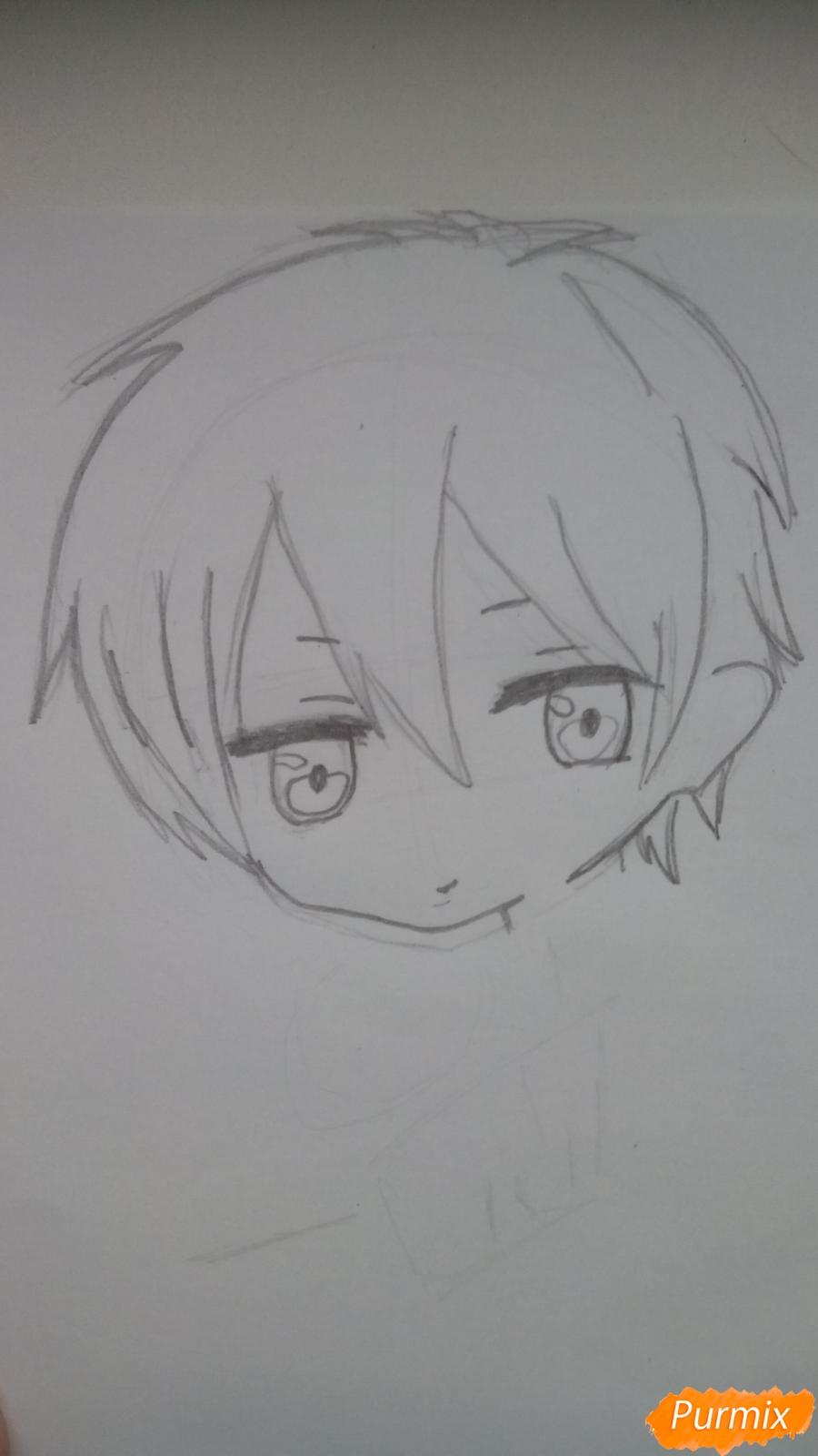 Рисуем чиби Куроко карандашами - шаг 2