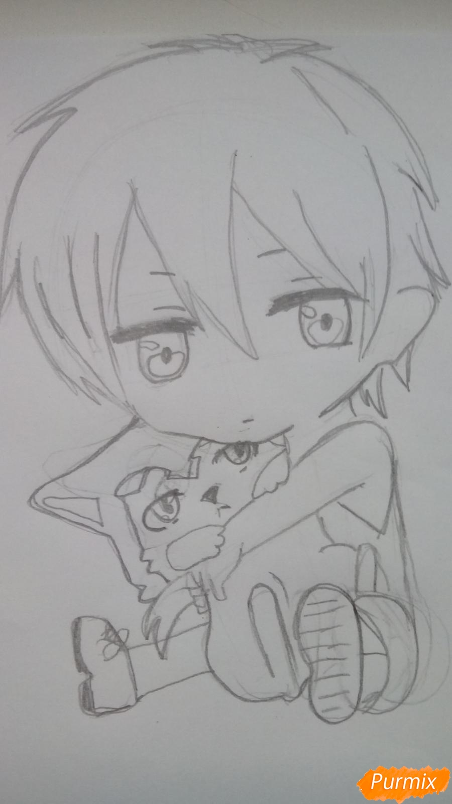 Рисуем чиби Куроко карандашами - шаг 3