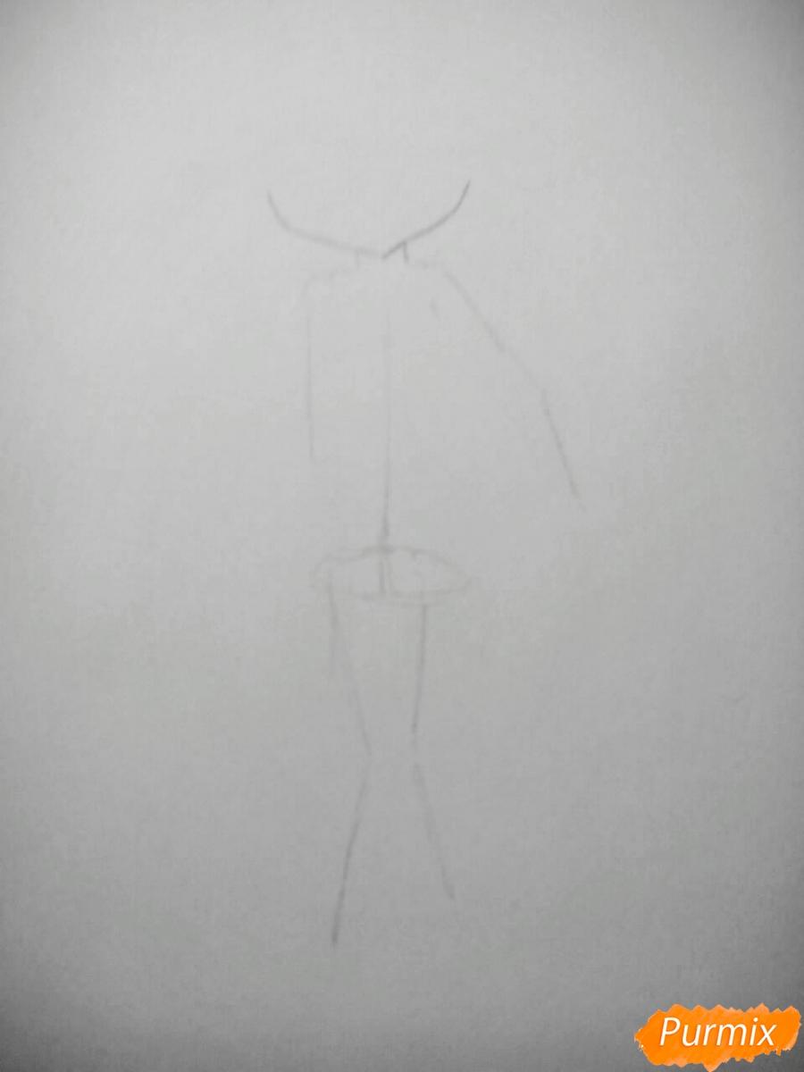 Рисуем чиби Леви в купальнике из аниме Хвост Феи карандашами - шаг 1