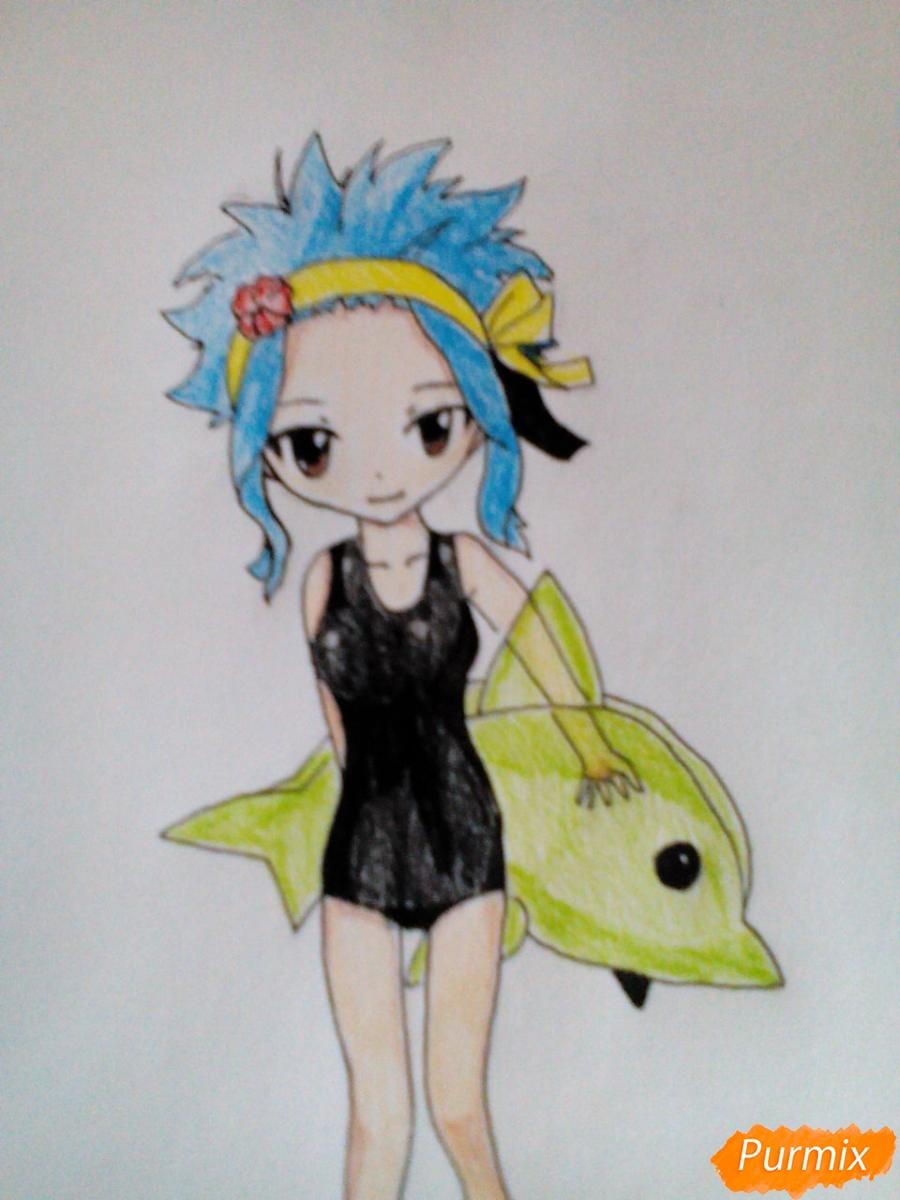 Рисуем чиби Леви в купальнике из аниме Хвост Феи карандашами - фото 12