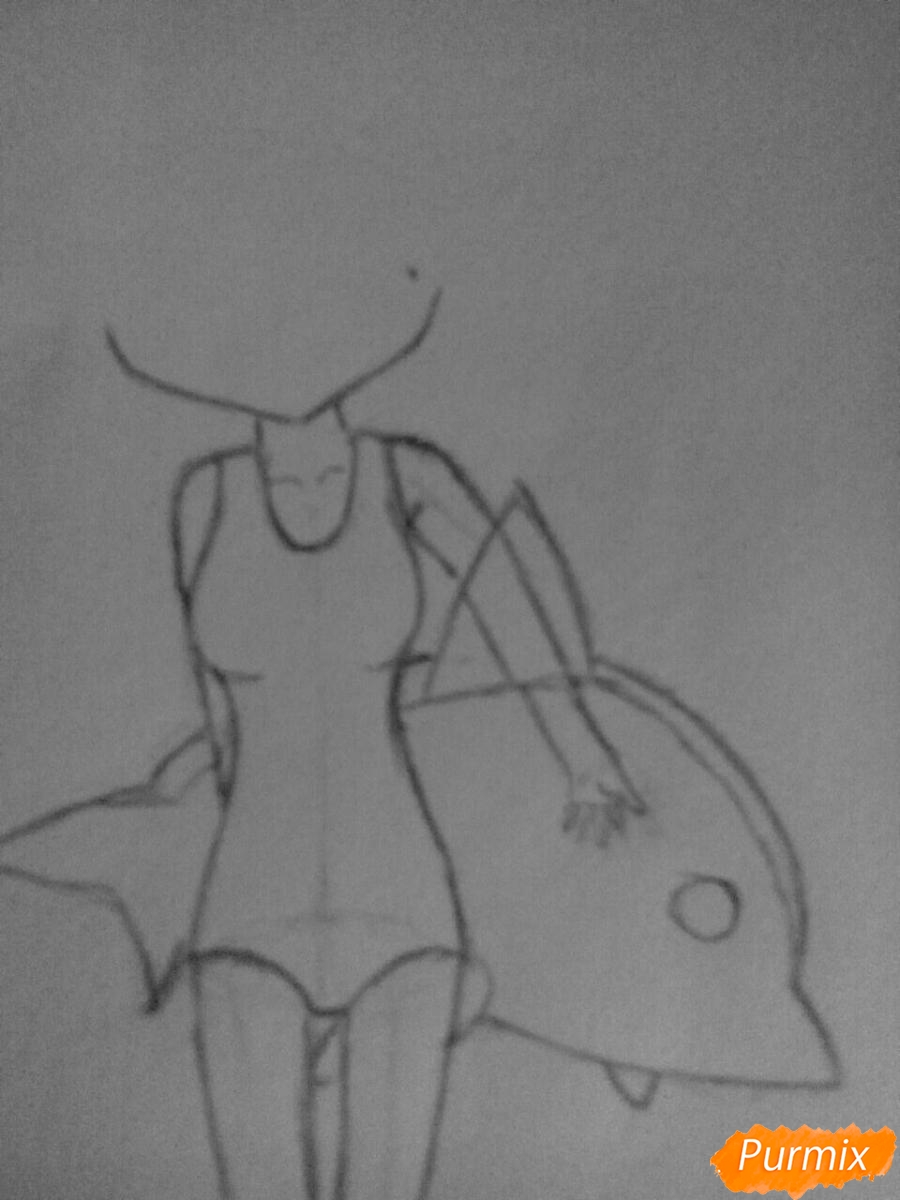 Рисуем чиби Леви в купальнике из аниме Хвост Феи карандашами - фото 4