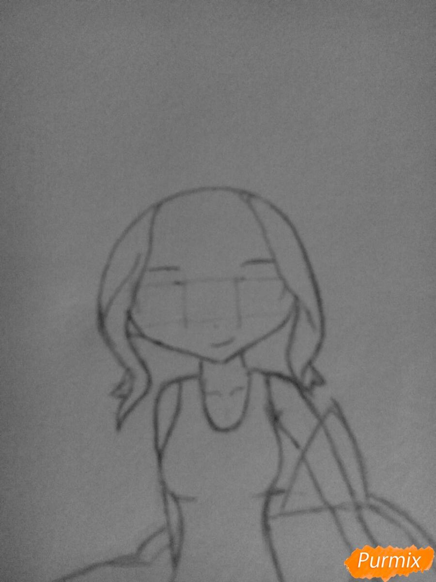 Рисуем чиби Леви в купальнике из аниме Хвост Феи карандашами - шаг 5