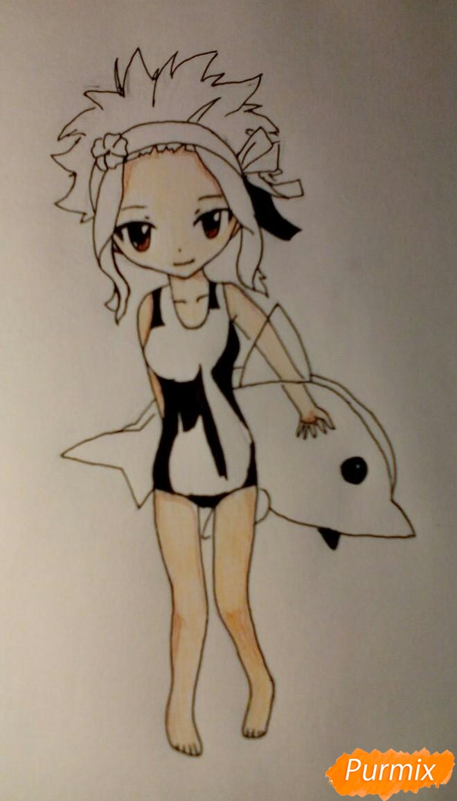 Рисуем чиби Леви в купальнике из аниме Хвост Феи карандашами - шаг 9