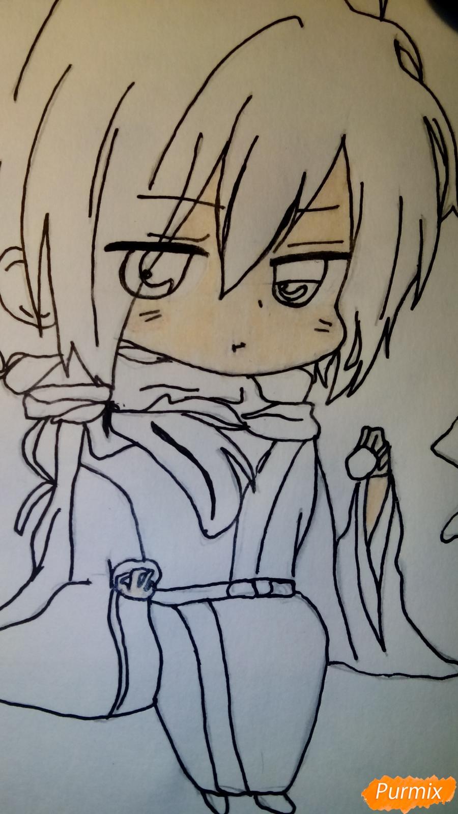 Рисуем чиби Сайто Хаджиме из аниме Сказание о демонах сакуры - фото 7