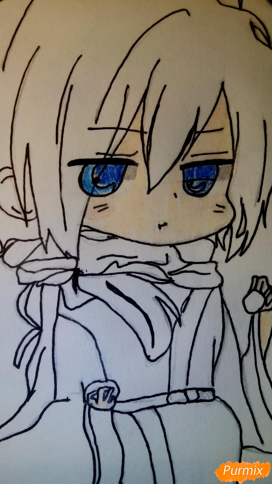 Рисуем чиби Сайто Хаджиме из аниме Сказание о демонах сакуры - фото 8