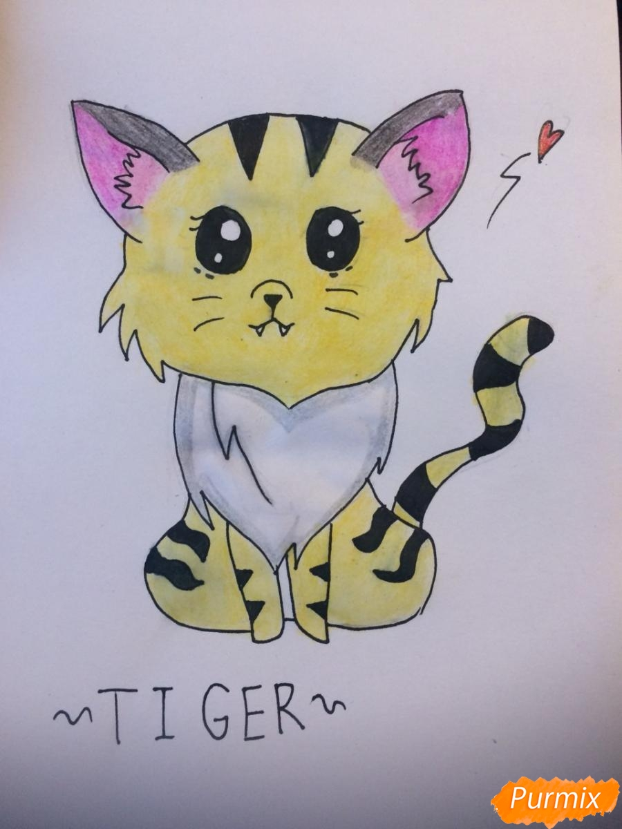Как нарисовать чиби тигра карандашами поэтапно