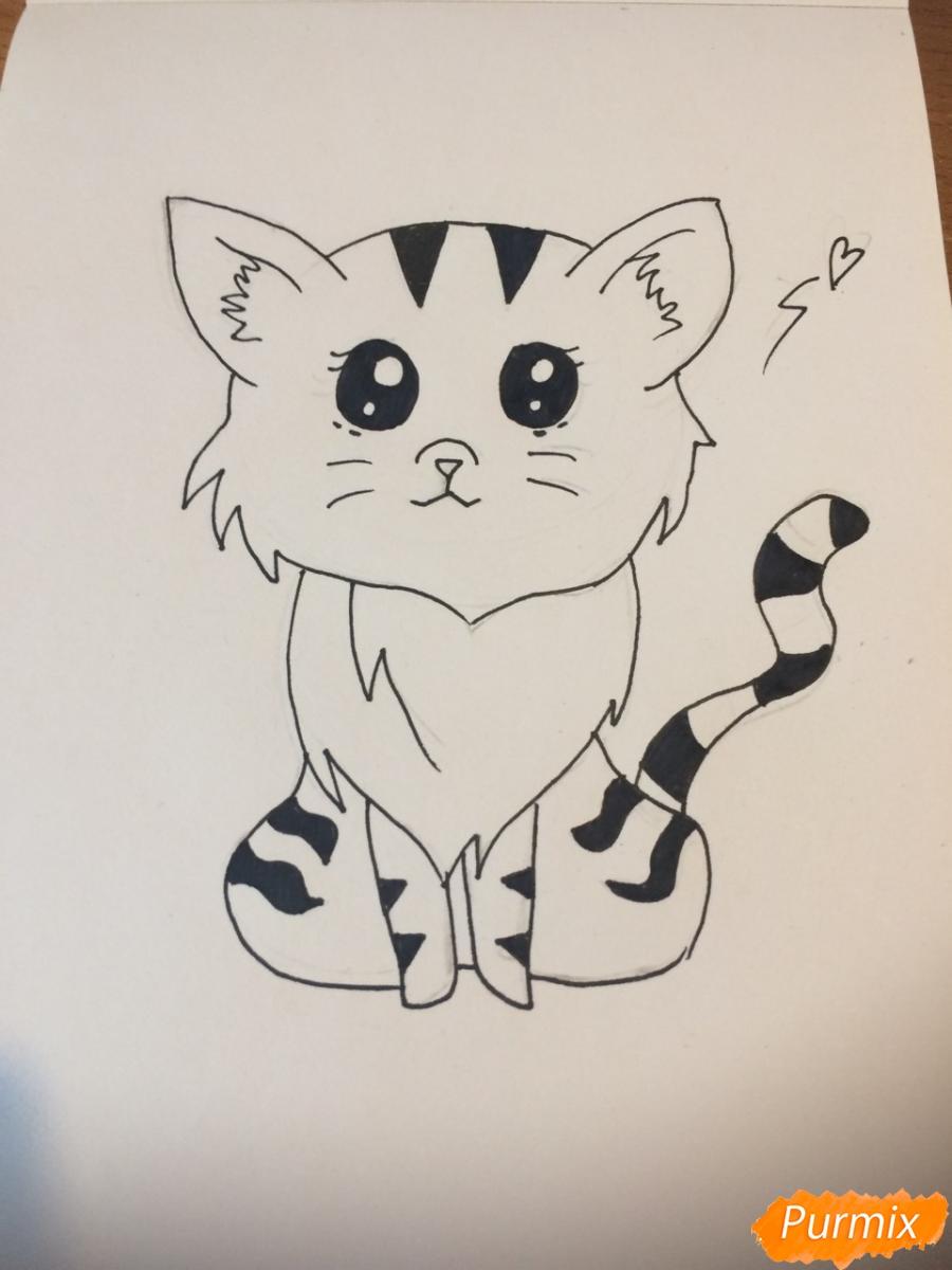 Рисуем чиби тигра карандашами - фото 8