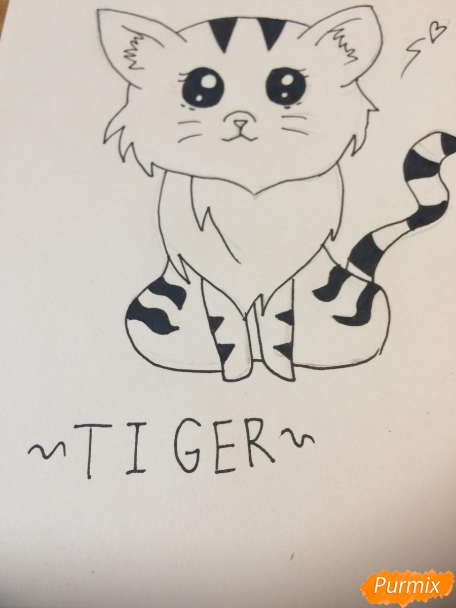 Рисуем чиби тигра карандашами - фото 9