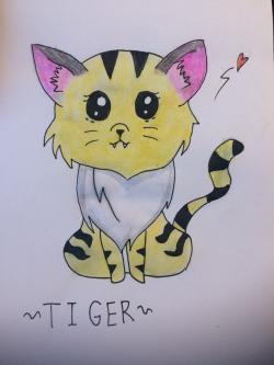 чиби тигра карандашами