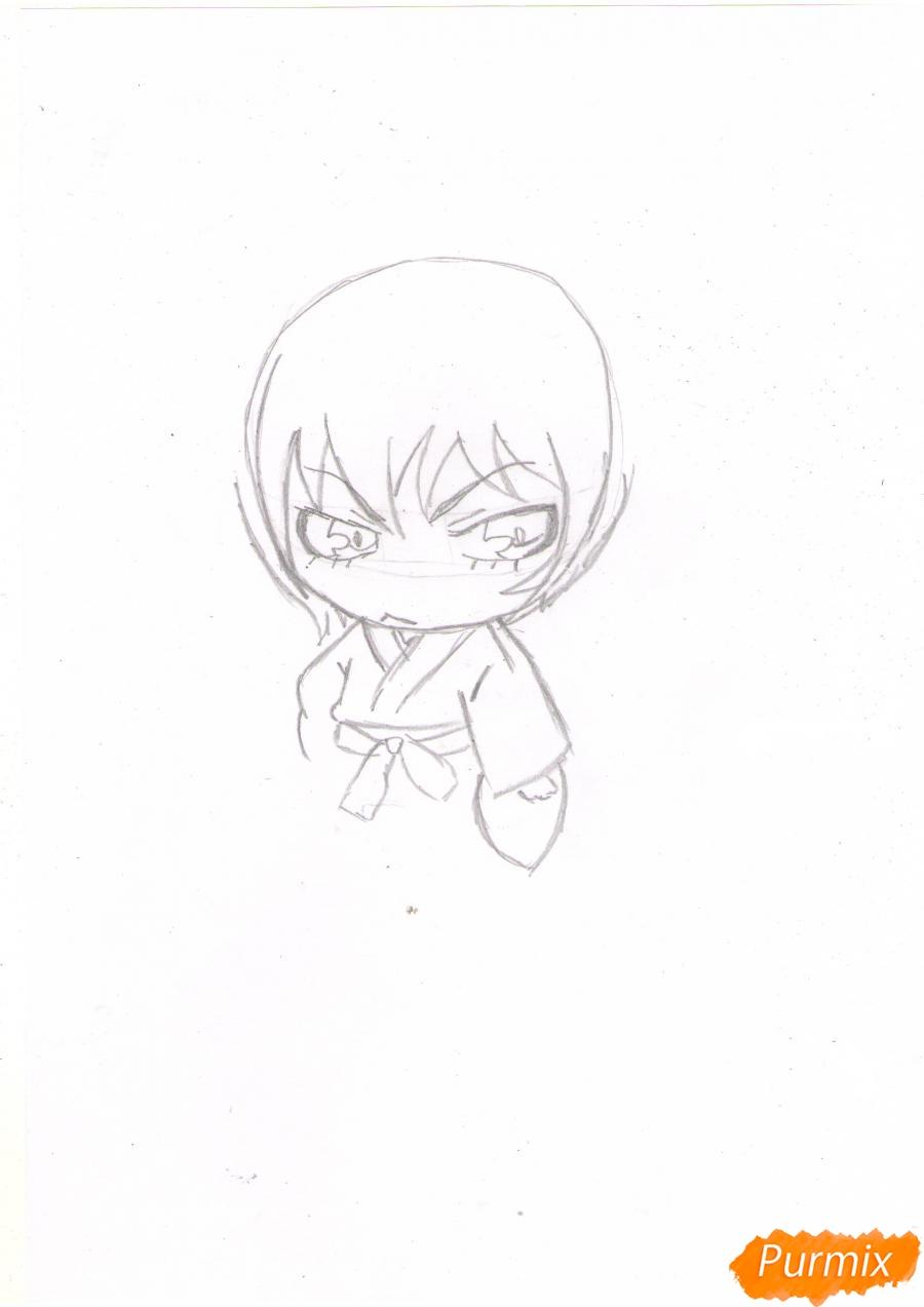 Рисуем чиби Томое карандашами - шаг 2