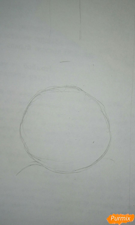 Рисуем чибика Витю цветными карандашами - шаг 1
