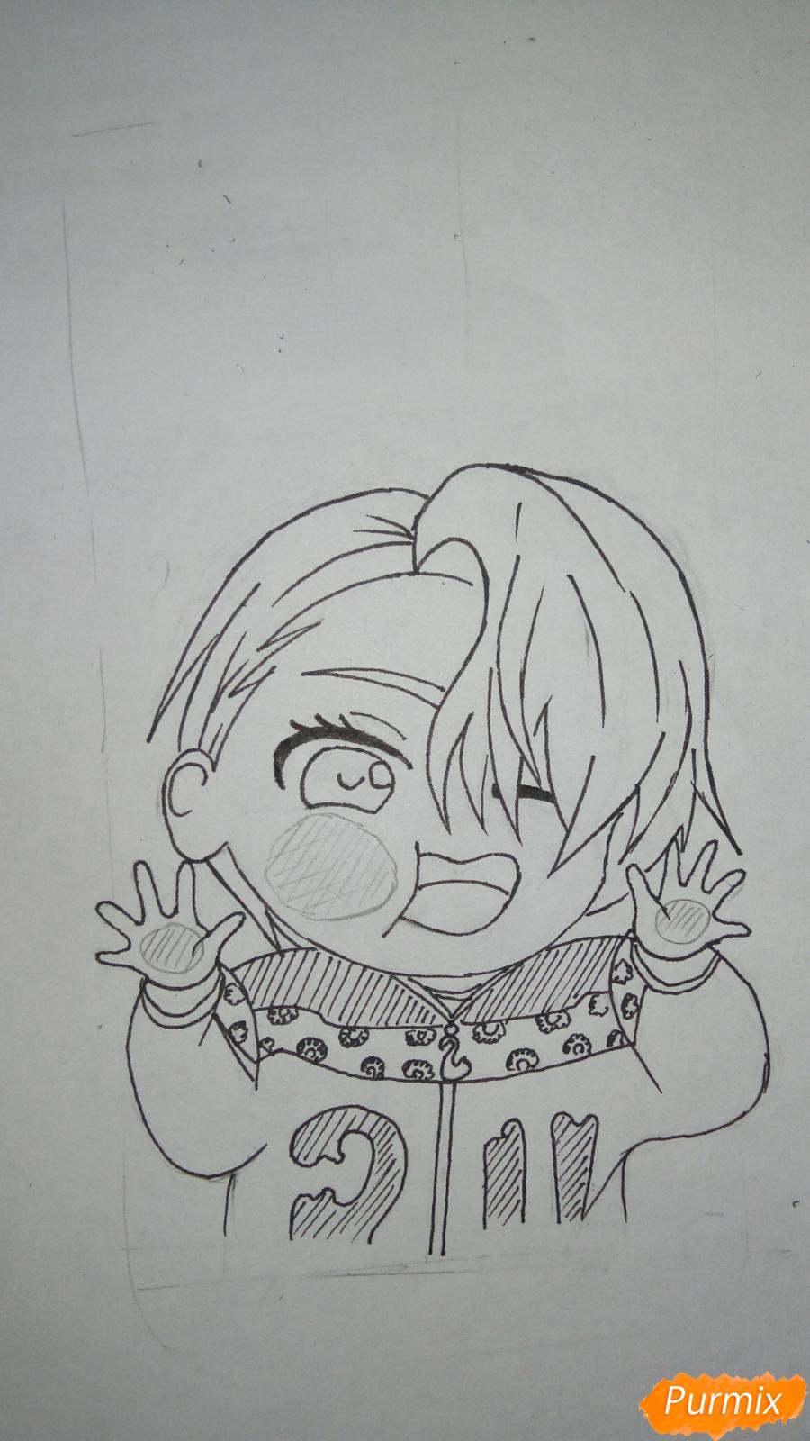 Рисуем чибика Витю цветными карандашами - шаг 10