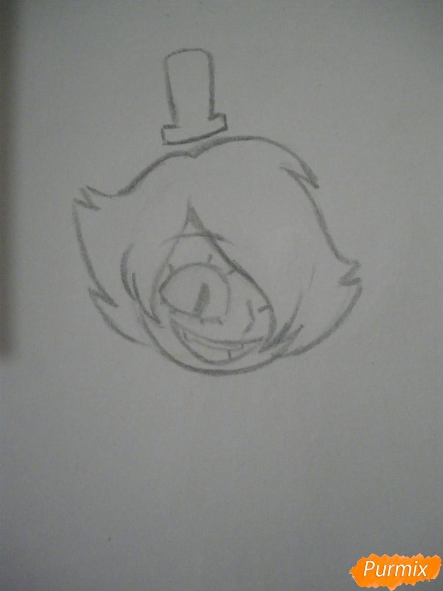 Рисуем девочку Билла Сайфера в стиле чиби карандашами - шаг 3