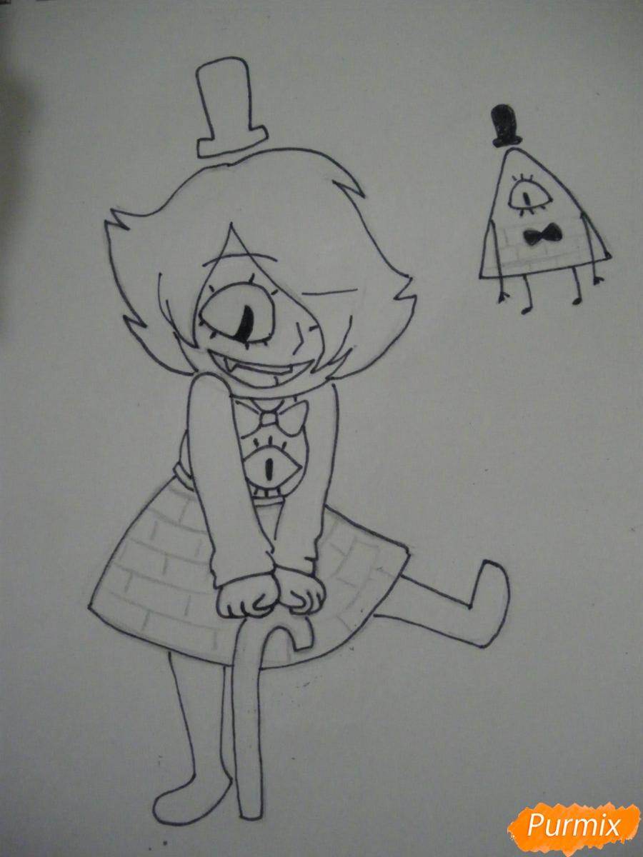 Рисуем девочку Билла Сайфера в стиле чиби карандашами - шаг 9