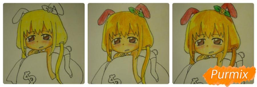 Рисуем девочку кролика в стиле чиби - фото 11