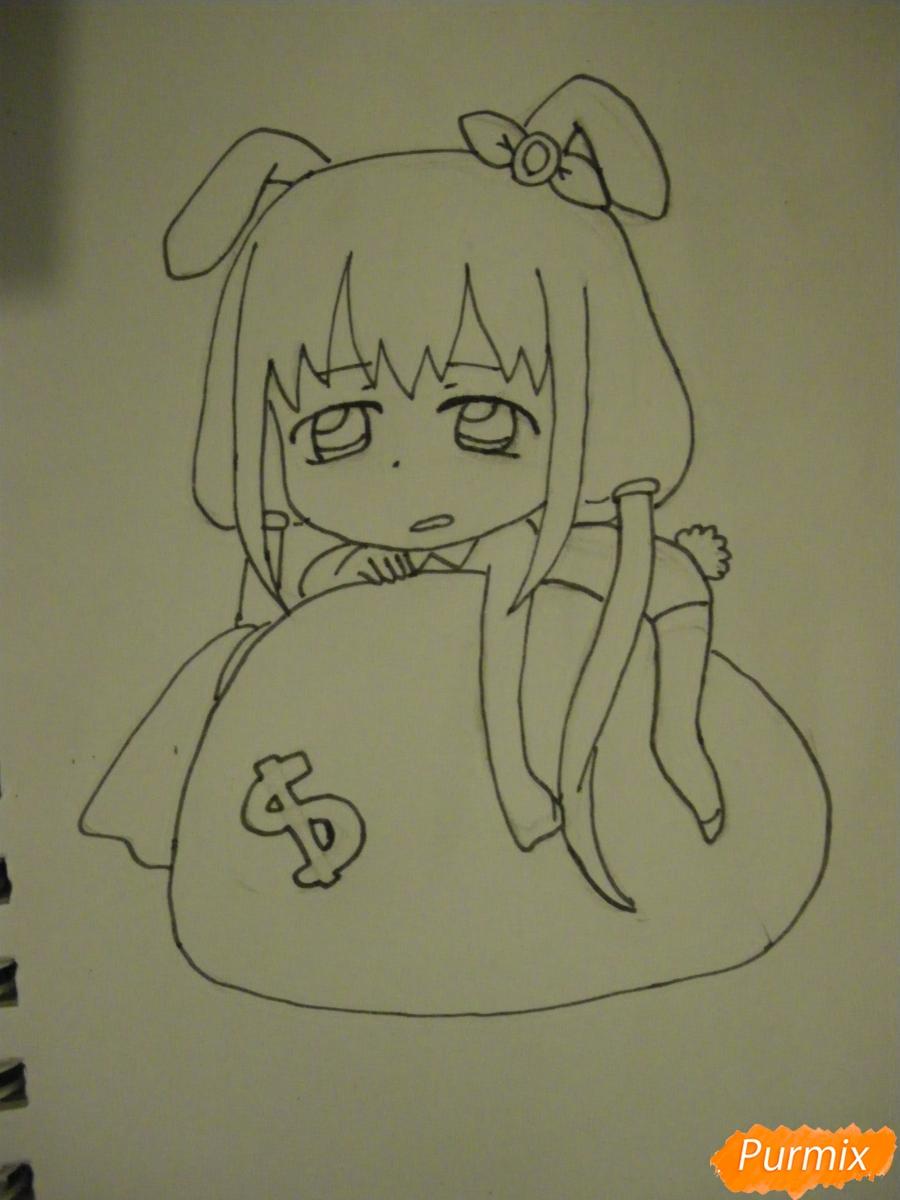 Рисуем девочку кролика в стиле чиби - фото 8
