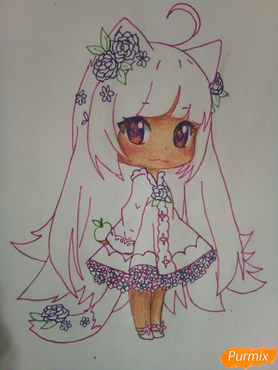 Рисуем чиби девочку лисичку с розами - шаг 10